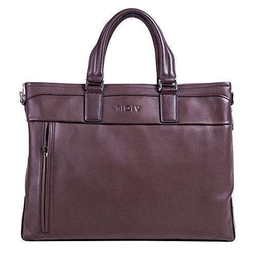 TIDIV Men's Briefcase Laptop Bag Messenger Shoulder Cow Leather Bag Handbag by TIDIV