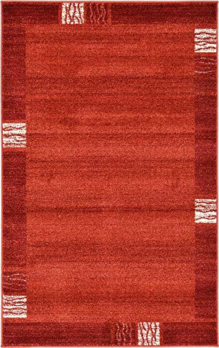 - Unique Loom Del Mar Collection Contemporary Transitional Rust Red Area Rug (3' 3 x 5' 3)