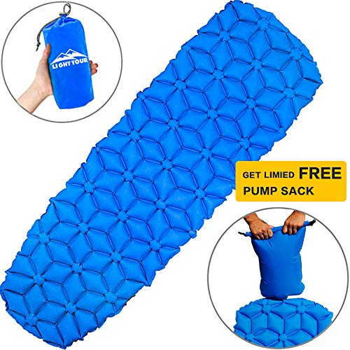 t Sleeping Pad with Pump Sack– Backpack Air Mattress Bed, Portable Sleeping Mat, Lightweight & Compact for Camping Hiking Travel-Blue ()