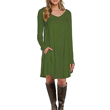 Schlank Kleider Damen, Covermason Damen Kleider Herbst Elegant mit Tasche  Lange Ärmel Frau Beiläufig Lose T-Shirt Kleid Dress  Amazon.de  Bekleidung 6053bc3286