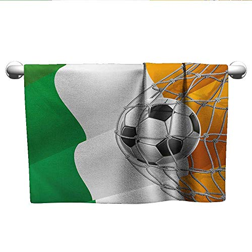 Cute Hand Towels Irish,Sports Theme Soccer Ball in a Net Game Goal with Ireland National Flag Victory Win,Multicolor,t Shirt Towel for Curly Hair ()