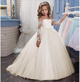 LYCLOTH Vestido de niña Apliques de encaje bordado para niños ...