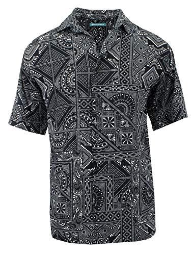 Cubavera Men's Short Sleeve Printed Woven Sport Shirt | Jet Black, X-Large