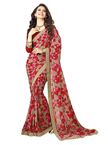 Aika Printed Georgette saree for women (Red_Free Size_Designer)