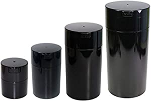 Tightvac Nested Set of 4 Vacuum Sealed Dry Goods Storage Containers, 4 Sizes: 24-Ounce, 12-Ounce, 6-Ounce, 3-Ounce, Black Pearl Tinted Body/Cap