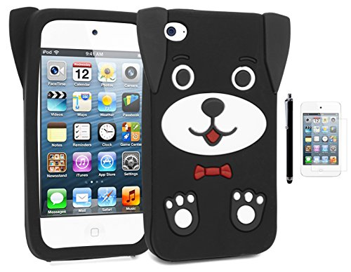 Apple iPod Touch 4,Bastex Cute 3D Silicone Puppy Dog Case for Apple iPod Touch 4, 4th Generation - Black+Screen Protector+Stylus -