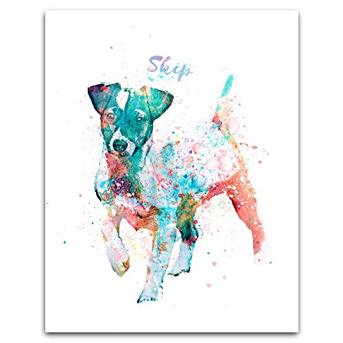 Personalized Gift for Dogs and Dog Lovers! Watercolor Style. (11x14 Wood Block Mount, Jack Russell Terrier)