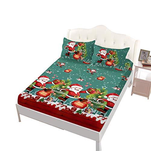 VITALE Full Size Sheet, Christmas Printed Bedding Fitted Sheet Full Size Set, Green Cartoon Santa Claus Printed Set of 4 Pieces Full Size Bed Sheets Set, for Kids Bedding Christmas Decor