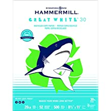 Hammermill Paper, Great White 30% Recycled, 20lb, 8.5 x 11, Letter,  92 Bright, 500 Sheets / 1 Ream (086710)