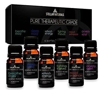 Top 6 Best Essential Oil Blends, Therapeutic Grade Aromatherapy Oils For Serenity and Protection contains. Breathe Easy, Sleep Easy, Refresh Energy, Fighting Thieves, Mood Enhancer, Anxiety Relief