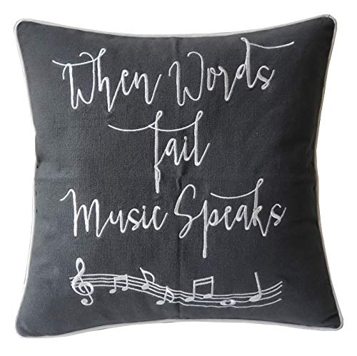 DecorHouzz Music Lover Embroidered Pillow cover Gift for Music Teacher Guitar Player Piano Player Graduation Teen Wedding (18