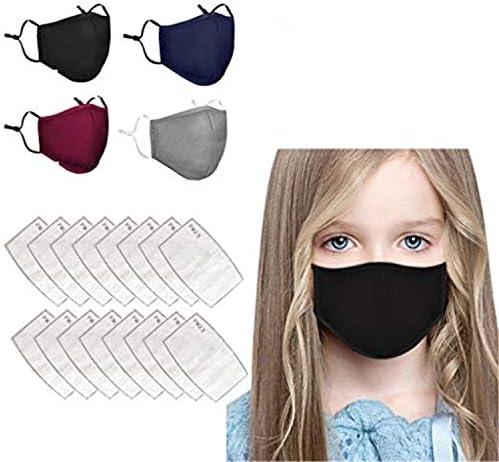 4pcs Solid Color Face Macks Reusable Face Bandanas for Childrens Reusable and Washable Face Cotton16pcs Activated Carbon Filters