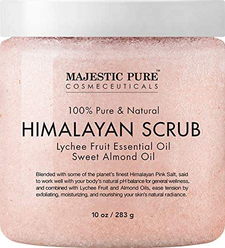 Majestic Pure Himalayan Salt Body Scrub with Lychee Essential Oil, All Natural Scrub to Exfoliate & Moisturize Skin, 10 Ounce (Pack of 1)