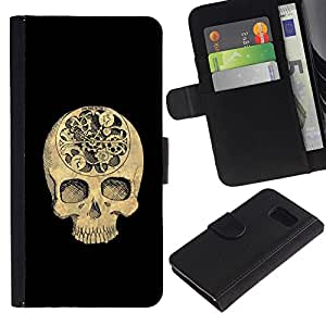 Stuss Case / Funda Carcasa PU de Cuero - Cráneo Tiempo Negro Profundo Significado Muerte - Samsung Galaxy S6