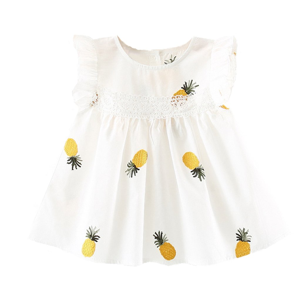 fe2ed245b Summer Baby Dress Pineapple Cotton Sleeveless Ruffles Infant Baby Girls  Dresses for Toddler Clothes (White, 18-24Months)