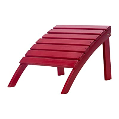 Essentials by DFO Exclusive Wood Adirondack Ottoman - Painted Red : Garden & Outdoor