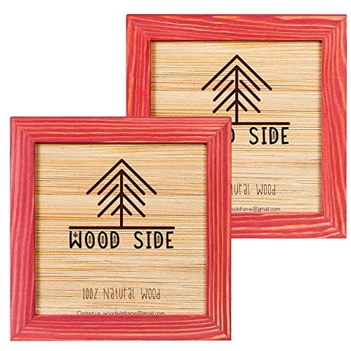 Rustic Wooden Square Picture Frames 8x8 - Set of 2-100% Natural Solid Eco Wood with Real Glass for Wall Mounting Photo Frame - Red (Photos For Red Frames)
