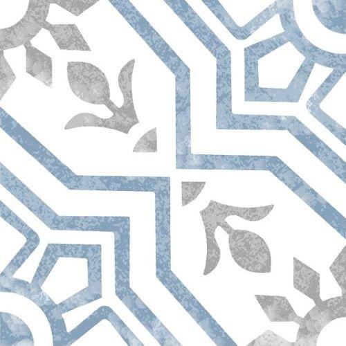 8x8 Bijoux Bleu Porcelain Pattern Art Deco Retro Modern Tile (8 Inch Ceramic Floor Tile)