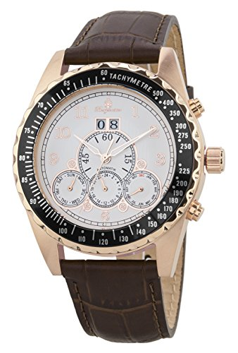 Burgmeister Men's Automatic Stainless Steel and Leather Casual Watch, Color:Brown (Model: BM302a-385)