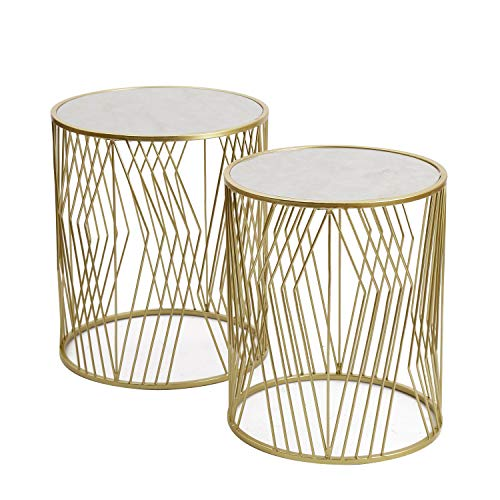 Joveco 2 Pieces End Table Metal Side Tables for Living Room Gold
