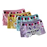 SmileWoman Baby 2t-10t Kids Girls Briefs 4-pack Boyshort Underwear Rabbit