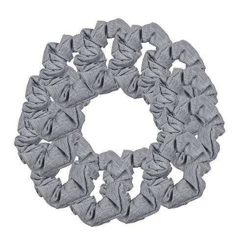 (12 Pack Solid Hair Ties Scrunchies - Heather Grey)