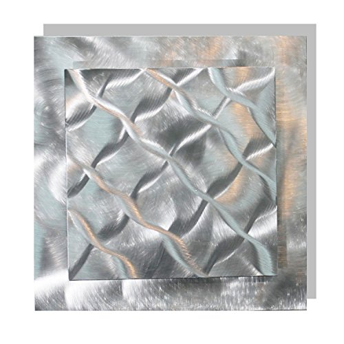 Eye-Catching Natural Silver With Woven Wave-Like Abstract Etchings - Modern Hand-Made Metal Wall Accent - Home Decor, Contemporary Metallic Wall Art - Prizm 1 by Jon Allen