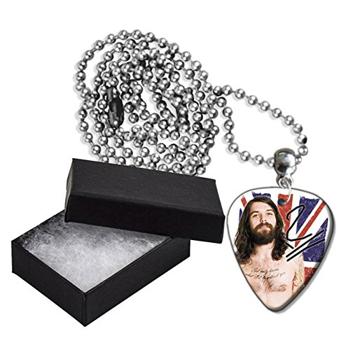 Simon Neil Biffy Clyro Flag Metal Guitar Pick Necklace Ball Chain Collier Médiator