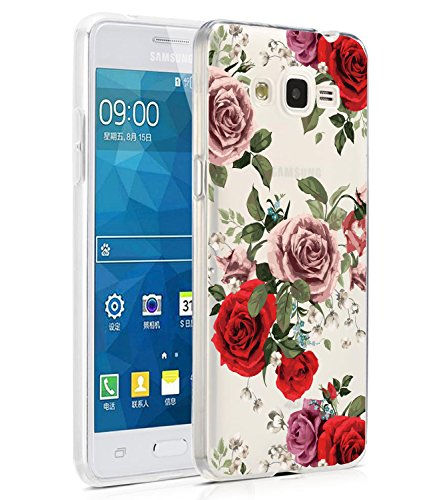 Galaxy Grand Prime Case, Galaxy J2 Prime Case with flowers, BAISRKE Slim Shockproof Clear Floral Pattern Soft Flexible TPU Back Cove for Samsung Galaxy Grand Prime G530/J2 Prime [Roses]