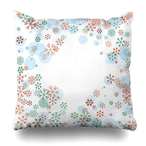 AileenREE Throw Pillow Covers Greeting Dot Diamonds Shaped Border Christmas Holidays Blue Green Blizzard Bright Celebrate Pillowcase Square Size 18 x 18 Inches Home Decor Cushion Cases Dots Blue Shaped Borders