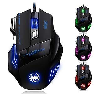 REDLEMON Mouse Gamer Óptico de 7200 DPI, Ergonómico, Iluminación en 7 Colores, Plug and Play, con Botones para Gaming y Rueda de Desplazamiento