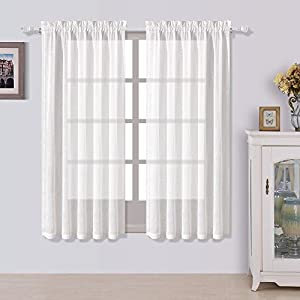 BEST DREAMCITY Rod Pocket Faux Linen Semi Sheer Curtains for Bedroom (White, W52 X L63,Set of 2)