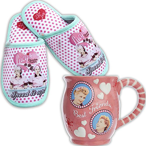 I Love Lucy Chocolate Factory Polka-Dot Scuff Slippers w/Non-Skid Soles