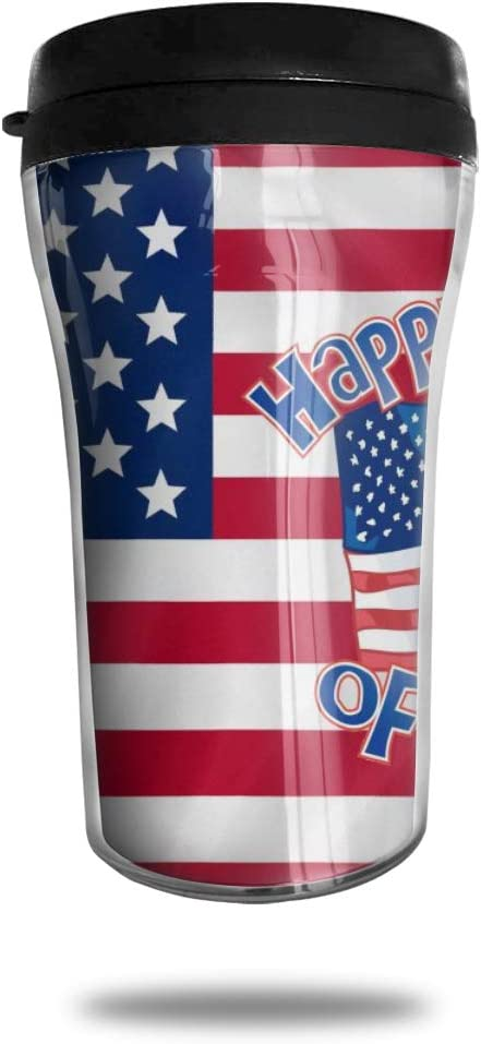 CZJAHBL Happy July 4 American Flag Travel Coffee Mug Delicate Printing Portable Vacuum Cup,Food Grade Abs Insulated Cup Anti-Spill(8.8 Oz)