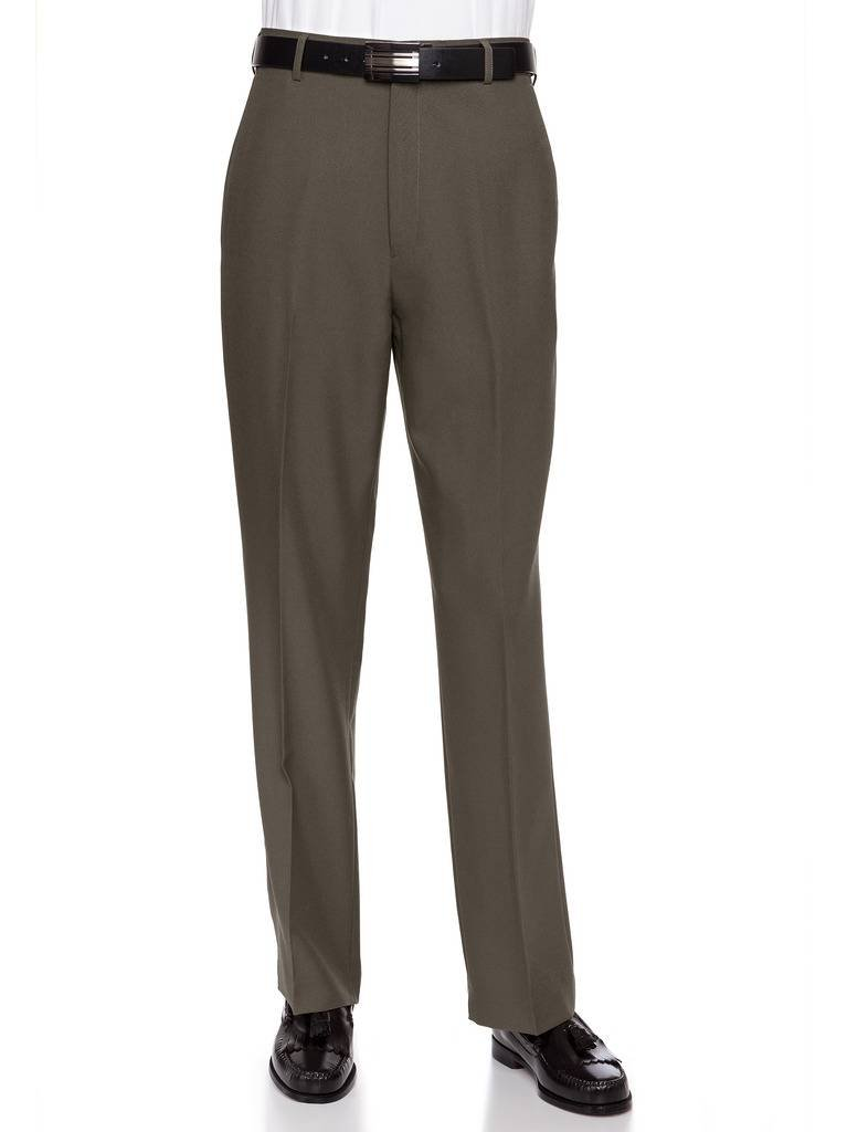 RGM Men's Flat Front Dress Pant Modern Fit - Perfect for Office, Business and Every Day! Olive 40W x 30L