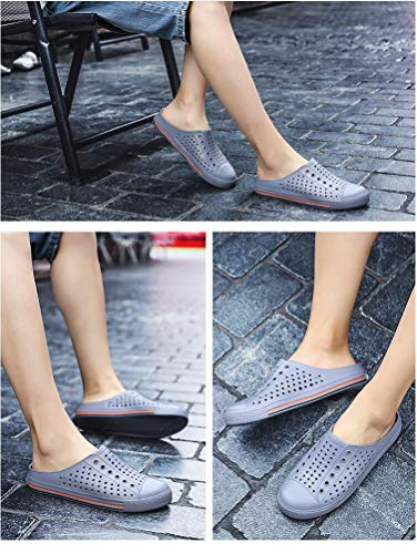 2018 Half Slippers Hollow Comfortable Lazy Beach Sandalsbreathable Couple Hole Gray Summer a7qXra