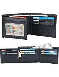 Genuine Leather RFID Blocking Wallets Mens Wallet Bifold Left ID