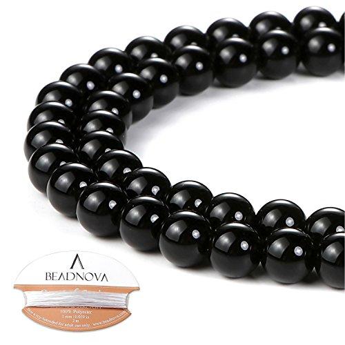 BEADNOVA 6mm Black Onyx Gemstone Round Loose Beads for Jewelry Making (63-65pcs) 6 Mm Round Onyx