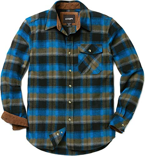 CQR Men's Flannel Long Sleeved Button-Up Plaid All Cotton Brushed Shirt, Plaid(hof110) - Flannel River, Large -