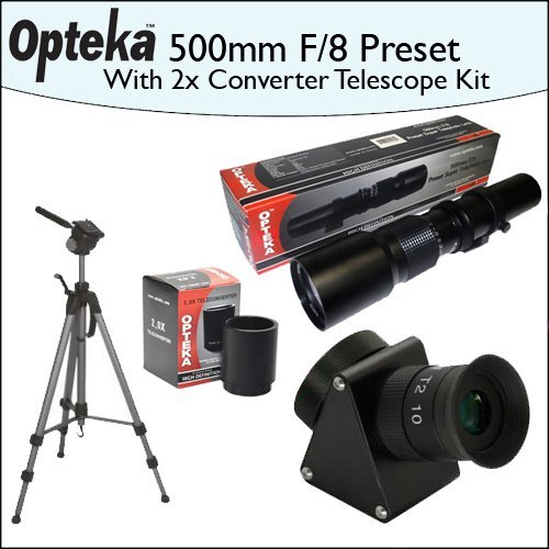 Opteka 500mm f/8 High Definition Preset Telephoto Lens + Lens Converter To Telescope + 2X Teleconverter Kit + Opteka 70'' Professional Tripod by Opteka