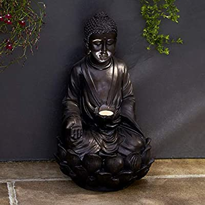 "Lights4fun, Inc. 15.4"" Solar Powered Outdoor Buddha Statue with LED Light"