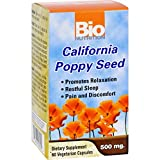 Bio Nutrition California Poppy Seed - 500 mg - 60 Vegetarian Capsules - Promotes Relaxation