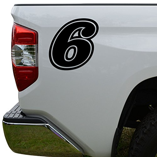 (Racing Race Number 6 Six Style 15 Die Cut Vinyl Decal Sticker For Go Kart Car Truck Motorcycle Window Bumper Wall Decor Size- [12 inch/30 cm] Tall Color- Gloss White)