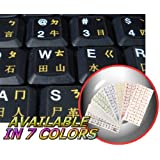 CHINESE KEYBOARD STICKERS WITH YELLOW LETTERING ON TRANSPARENT BACKGROUND