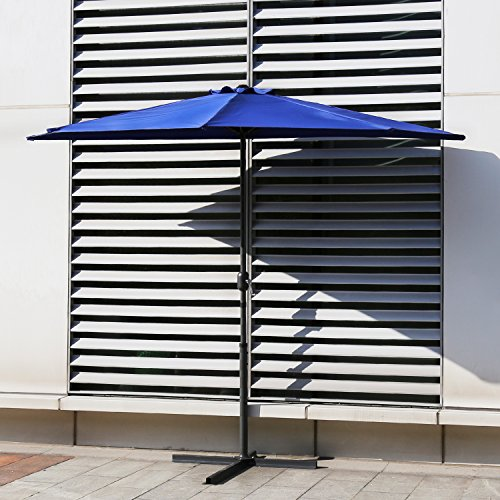 Kinbor Half Round 5 Ribs 10FT Outdoor Aluminum Patio Umbrella Wall Window Corner Umbrella Crank without Umbrella Base, Burgundy/Tan/Blue (Blue) Review