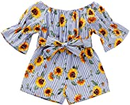oklady Kids Toddler Baby Girls Summer Outfit Off-Shoulder Sunflower Overall Romper Jumpsuit Short Trousers Clo