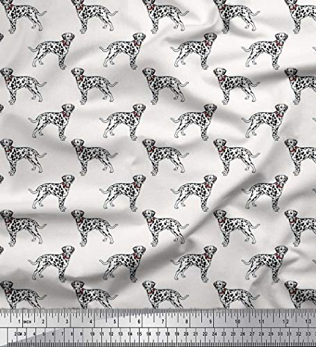 Soimoi White Velvet Fabric Dalmatian Dog Print Fabric by The Yard 58 Inch Wide ()