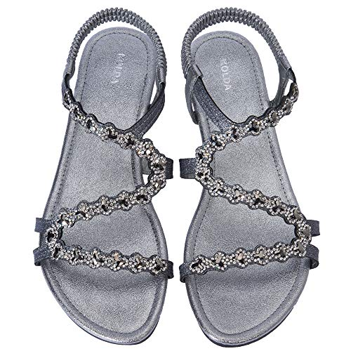 KOLDA Low Heel Women Dress Sandals Wedge Sandal Jeweled Rhinestone Decro Comfortable Summer Shoes for Women Ladies Grey