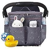 Parents Stroller Organizer Travel Bag with Shoulder Strap Insulated Bottle Holder Lightweight Design Storage Pockets for Bottles,Diapers,Toys,Saliva Towel-Fits All Baby Stroller Models (White Dots)