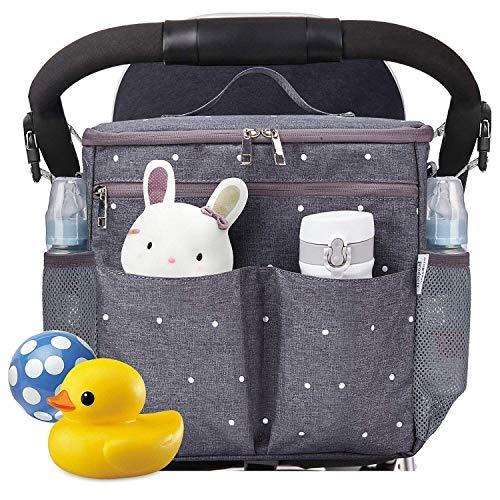 - Parents Stroller Organizer Travel Bag with Shoulder Strap Insulated Bottle Holder Lightweight Design Storage Pockets for Bottles,Diapers,Toys,Saliva Towel-Fits All Baby Stroller Models (White Dots)